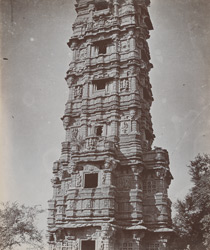 Close view of the lower portion of the Jaya Stambh or Tower of Victory, Chittaurgarh [Chitorgarh]